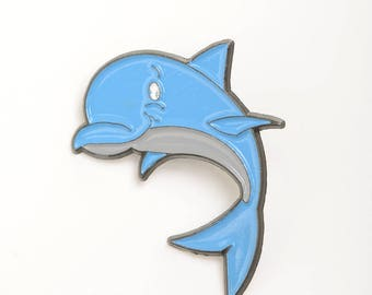 Dolphin enamel pin, sea animal pins, sea lapel pin, cute animals pins, kawaii lapel pin