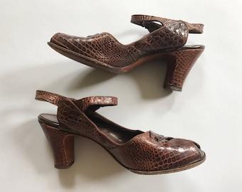 1940s Brown Croc Slingback Heels