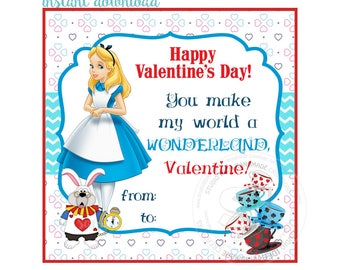 INSTANT DOWNLOAD-Happy Valentine's Tags- D.I.Y Tags-Alice in Wonderland Love Tags -Digital file