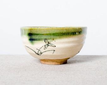 Handmade kiln fired hand painted Japanese ceramic green glazed stoneware chawan tea bowl