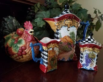 Tea Set~ French Country ~ Harlequin design, Thatched Country house, Fruit, Rooster, much more