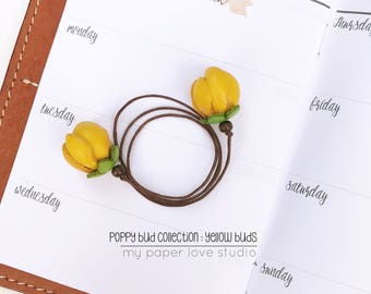 planner travelers notebook TN page marker / bookmark / leather flower charm bookmark : poppy bud collection YELLOW