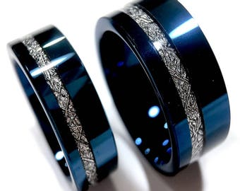 Charmant Wedding Bands, Blue Meteorite Inlay Rings, His And Her Engagement Ring,  Blue Tungsten