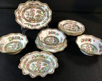 Nice COALPORT India Tree | Group Of 9 Pcs | Finger Bowls Plates Oval Bowls