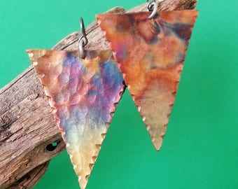 Handmade Inverted Triangle Copper Earrings