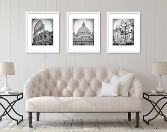 Rome Print Set, Rome Photography, Black and White, Colosseum, St. Peter's Dome, Trevi Fountain, Italy, Europe Wall Art, Set of 3 Prints