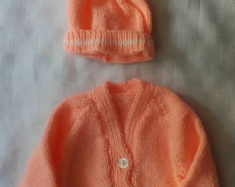 Baby girl sweater, knitted baby sweater,  sweater and hat set newborn,  ready to ship