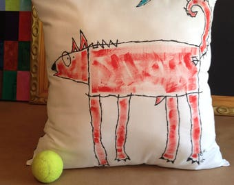 """Dog Accent Pillow - """"Red Wolf under the Blue Moon"""""""