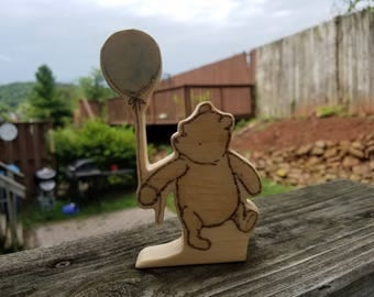 Winnie-the-Pooh Character - Hand Made Wooden Character - Classic Pooh - Balloon