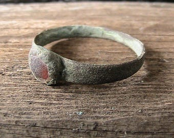 Antique, Antique Bronze Ring, Bronze Ring, Medieval, Green Patina, Old, Ring, Red Glass, Archaeological, Find, Patina, Collectibles