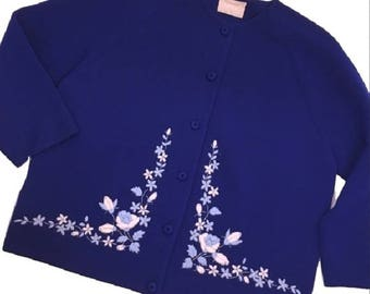 Vintage 60's DORCE embroidered wool Cardigan  SIZE 14