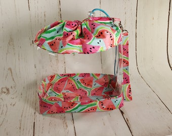 Watermelon (pink) Large Clear Vinyl Project Bag, Drawstring Bag with clear vinyl, Knitting project bag CVL0011