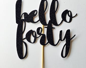 Forty 40th cake topper hello fifty gold glitter birthday script large cake toppers, party,gold part custom number, 30th birthday party, any