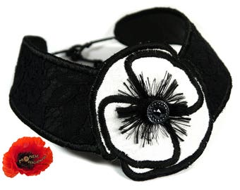 Evening necklace black white poppy in silk, lace of calais leather