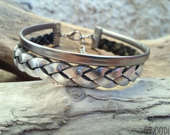 Leather bracelet 2 links silver plated braided silver Boho jewelry By Dodie