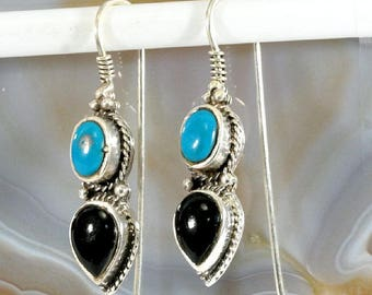Onyx and Turquoise,Silver Earrings  --4516