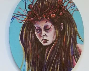8x10 Oval Surreal Horror Painting --Acrylic and Markers on Cotton Canvas