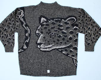 Women's Mock Neck Leopard Sweater / LARGE L / 80s Oversized Boxy Pullover Sweaters / Machine Washable - High Quality Acrylic
