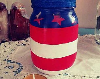 Painted American Flag Mason Jar Candle Holder w/ Beeswax Tealight Candle