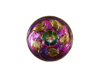 Beautiful Mirror Back Mercury Glass Button Color-Changing Pink Purple Gold Wreath of Leaves