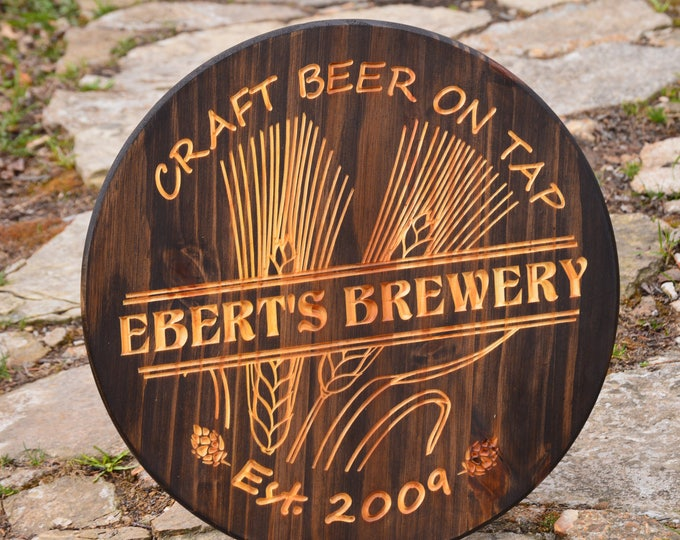Personalized Bar Signs Custom Bar Sign Man Cave Fathers Gift Custom Beer Barrel Bar Sign Home Brew Beer Brew House Wheat Beer Tavern Sign