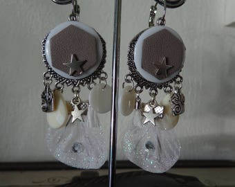 White Leather earrings beige piece only one available