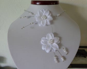Necklace flower pearls white satin wire hypoallergenic available on wedding
