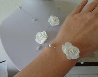 white wire hypoallergenic wedding flower bracelet necklace