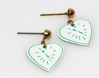 Heart Clock Earrings