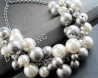 White Pearl Necklace Statement Jewelry Set Silver Necklace Pearl Jewelry Chunky Necklace Bohemian Jewelry Bib Necklace Bead Jewelry For Her