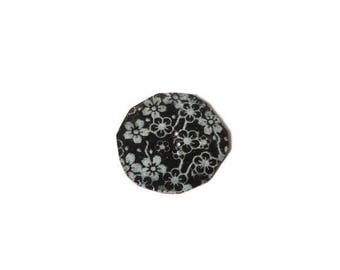 black and white cherry blossom copper button