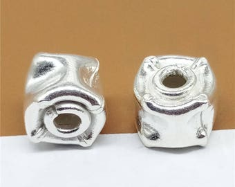 2 Karen Hill Tribe Silver Saucer Beads, Higher Silver Content than Sterling Silver Barrel Bead, 925 Silver Sauer Bead, Spacer Bead - TR350