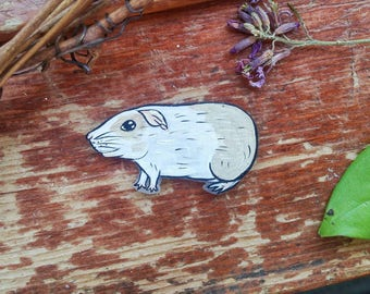 CUSTOM Guinea Pig Pet Portrait Hand Painted Pin Brooch Badge