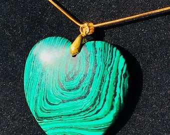 Gorgeous striated heart shaped malachite crystal necklace, heart chakra healing