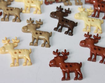 Reindeer buttons, assorted color plastic 2 hole flat back reindeer shape buttons, Christmas buttons, Xmas buttons, lot of 12, baby buttons