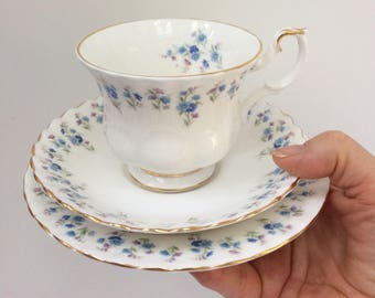 Reduced - Royal Albert bone china trio, cup saucer and side/cake plate.  Memory Lane design