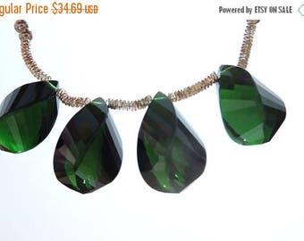 25% OFF 5 Pcs Outrageous Chrome Green Quartz Faceted Twisted Drops Briolette Size 19*10 MM