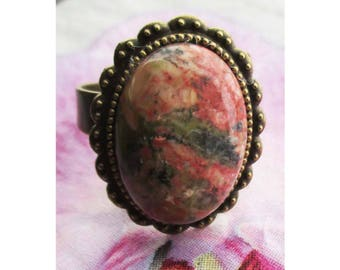 """Vintage cabochon ring oval """"unakite stone"""" on antique bronze vintage setting"""