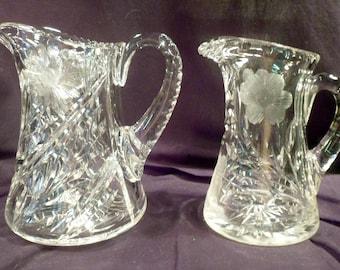 Two Antique American Brilliant Period Cut Crystal Pitchers, Daisy, Vine Intaglio