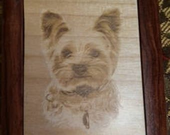 Laser Engraved Yorkie Maple Mirror Compact