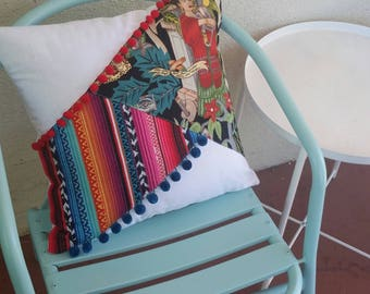 Mexican Style Throw Pillow Scatter Cushion Frida Kahlo Summer Tropical Colorful Desert Modern Patchwork Kustom Gift Colourful Bright Decor