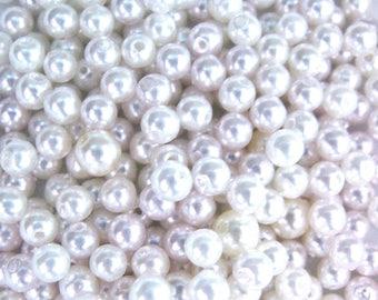 25 WHITE 4 MM ROUND SEMI-PRECIOUS BEADS