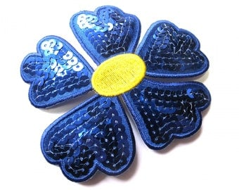 EMBROIDERED ROYAL BLUE SATIN FLOWER SEQUIN TRANSFER HOT FIX 10 CM