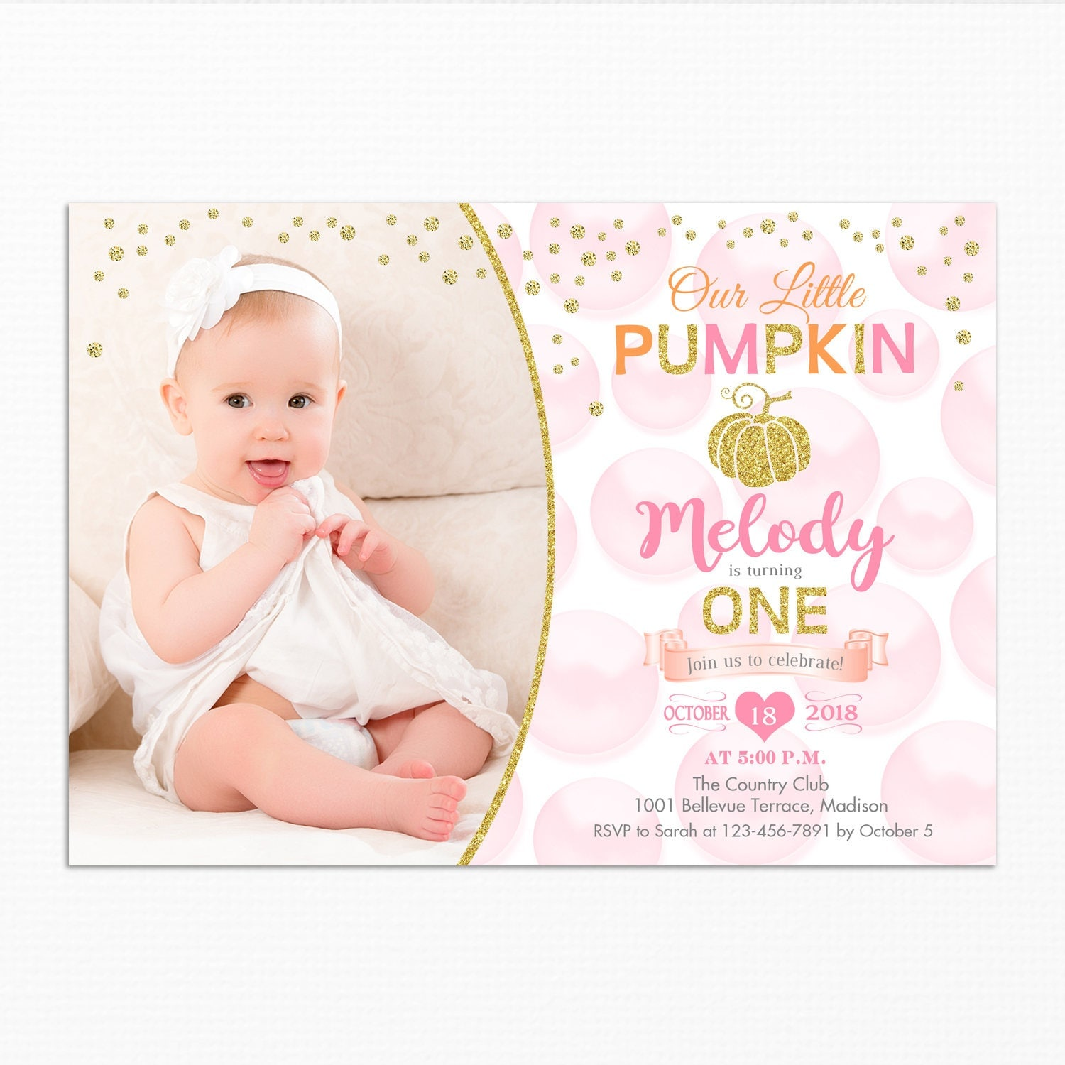 Pumpkin first birthday invitation for girl with photo any age 1st pumpkin first birthday invitation for girl with photo any age 1st 2nd fall filmwisefo