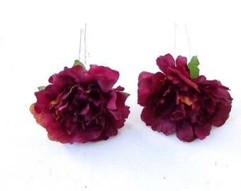 2x Burgundy Red Carnation Flower Hair Pins Bridesmaid Floral Rockabilly Vtg 3540