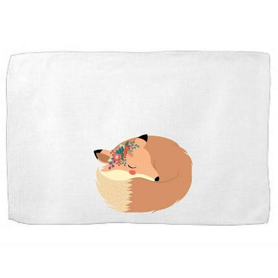 Boho Fox Sleeping Kitchen Towel,Dish Towel, Tea Towel, Flour Sack Material,Woodland Animals Dish Towels,Flour Sack Kitchen Towel, Dish Cloth