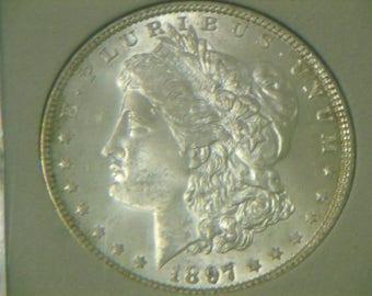 "Uncirculated 1897 ""P"" MORGAN SILVER DOLLAR"