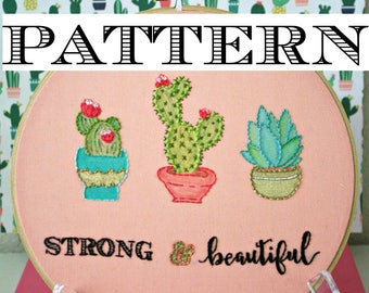 Embroidery Pattern:Desert Succelent Plants,Instant PDF Download,Cactus Embroidery Pattern,Embroidery Hoop Art,Printable Stitching Pattern,
