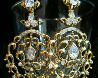Long Earrings CZ Cubic Zirconia dangle Chandelier Circle pierced gold tone VTG Chunky large Runway Fashion Statement jewelry pageant sparkly