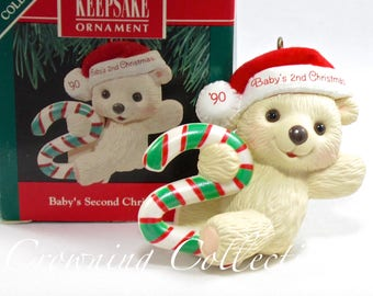 1990 Hallmark Baby's Second Christmas Keepsake Ornament Teddy Bear Child's Age Collection Candy Cane 2nd MIB Vintage